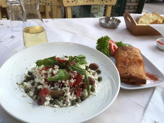 O Kipos Tis Troon: Cretan salad; filo wrapped pastrami and local cheese