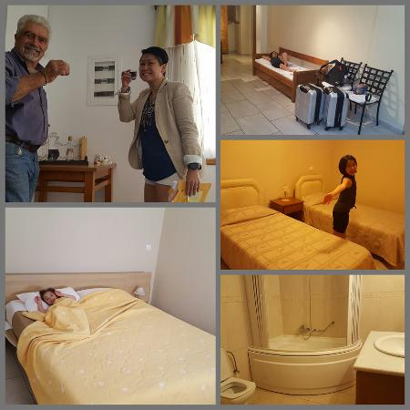 "Anemomilos Suites: Our humongous suite!  Yamas with Mr Starvalos ""The Greek"" who graciously gave us a bottle of his"