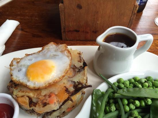 'Real corned-beef hash' was served with fried egg AND gravy?! Thought I was seeing things, under