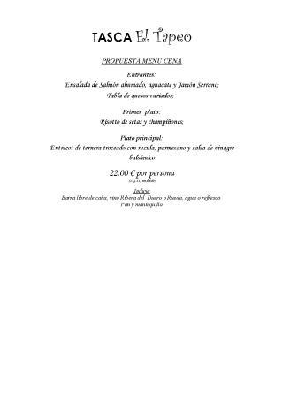 Tasca El Tapeo : menú para grupo -cena-