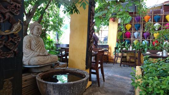 Secret Garden Home Cooked Vietnamese Restaurant Small Corner With Buddha Statue Over A Water