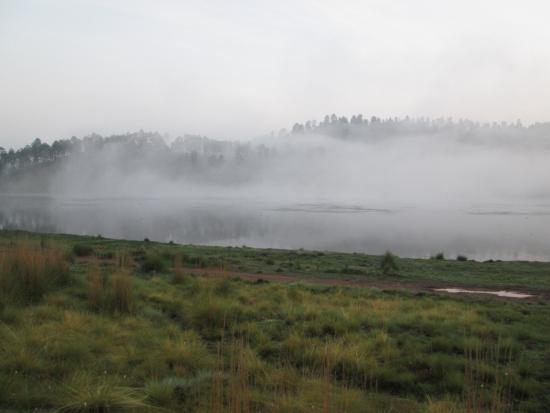 Corral de Piedra: Morning mist on the lake