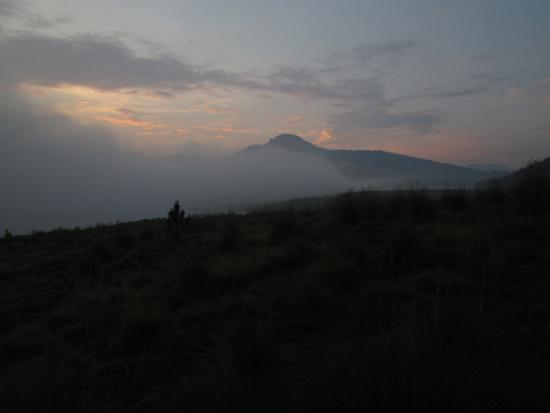 Amanalco de Becerra, Mexico: sunrise with El nevado de Toluca in the far distance (right)