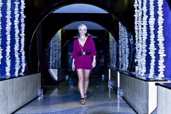 One Ocean Resort & Spa: Me walking through the magic blue tunnel from the bar to the hotel.