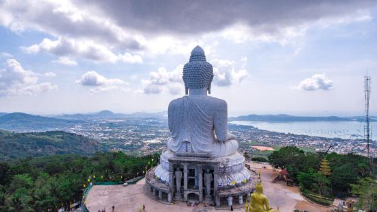 2016 construction of Big Buddha complex, Phuket, view from drone - Picture of...