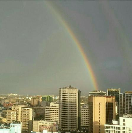 Rainbow seen over Hilton Nairobi. The city in the sun