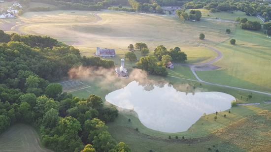 View Of Misty Farm Pond Taken On Our Sunrise Flight Over