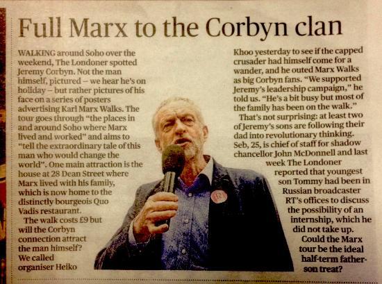 Karl Marx The Walking Tour: Evening Standard Article on Marx Walks