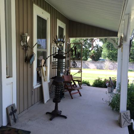 The Front Porch: One of many eclectic sculptures for sale.