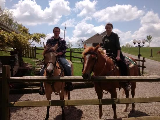 Amish Country Riding Stables: My husband and I after our ride! Tonya was happy to take a few pictures for us!
