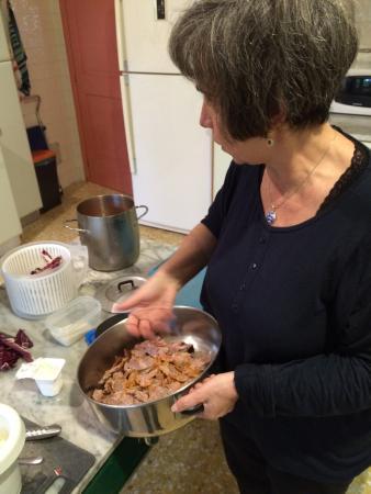 Letizia cooking up a beautiful sauce