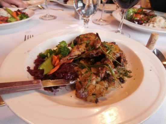 Juliano's: Honey-Dijon Grilled Twin Quails On Anjou Pear, Bacon & Walnut Compote with Grilled Sweet Potato