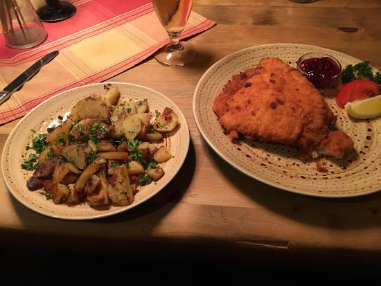 Tiroler Bauernkeller: One of the cordon bleu specialties with bacon and a side of roasted potatoes. Beyond delicious.