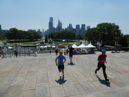 Philly Bike Tour Company: Running up the steps of the Art Museum (AKA The Rocky steps)