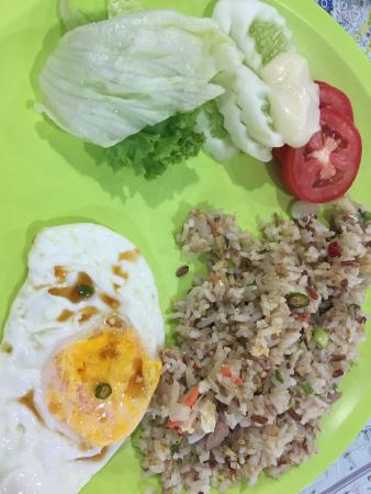 Roof View Place: Healthy breakfast - brown fried rice with tuna , olive oil , fruits, eggs , fresh salad , honey