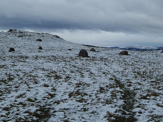 Kirksanton, UK: Above snow line. Stones of larger of two circles