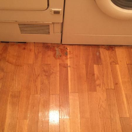 Laundry Washer Leaks And Damaged Floor Long Overdue For Repair