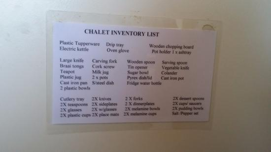 Kitchen Inventory List for the two person chalet - Picture of Misty ...