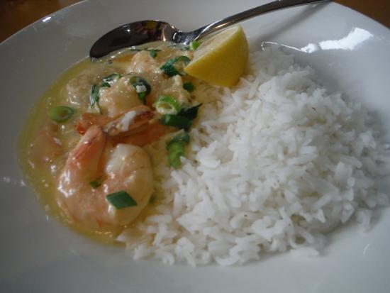 Vine Inn: Garlic prawns with white rice.