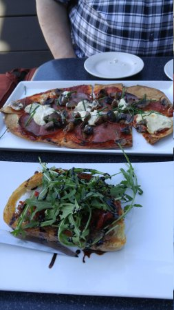 Muffuletta Cafe: Appetizers - handmade flatbread & BLT Brioche