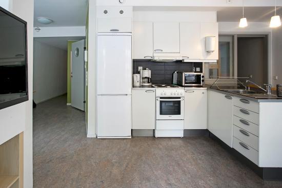 Slottsskogens Hostel : Well equipped kitchen in the vakna apartment