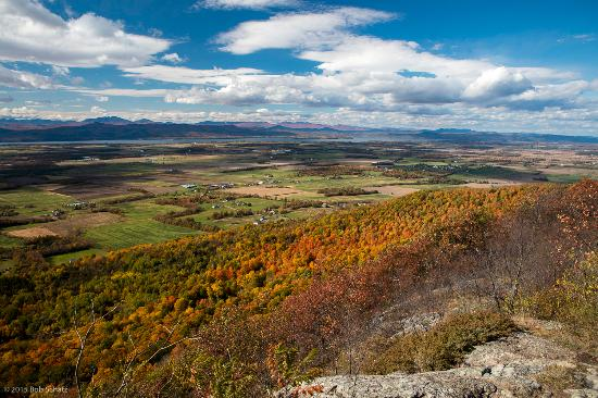 Addison, VT: View from Snake Mountain overlook. Stunning panorama of the Champlain Valley and the Adirondacks