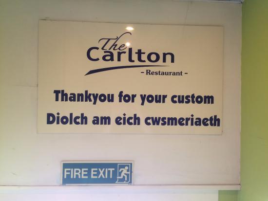 The Carlton Restaurant: Entrance Sign