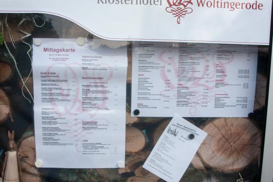 Vienenburg, Duitsland: Klosterkrug Speisekarte