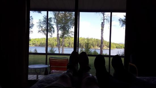 Long Lake, NY: View from the double bed on the first floor in the morning