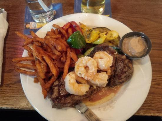 Whistler's Grille & the McNeil Room: The Surf and Turf special with sweet potato fries. 8oz steak. Look at the grill lines!