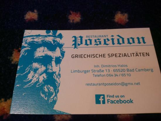 Visitenkarte Picture Of Restaurant Poseidon Bad Camberg