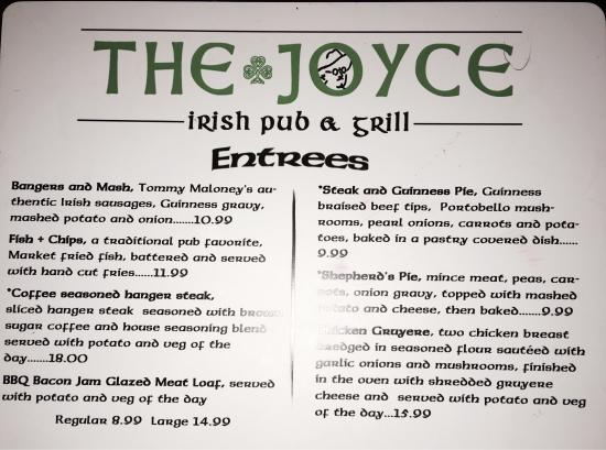 Leland, North Carolina: The Joyce Menu. They also have a full menu of beers and spirits.