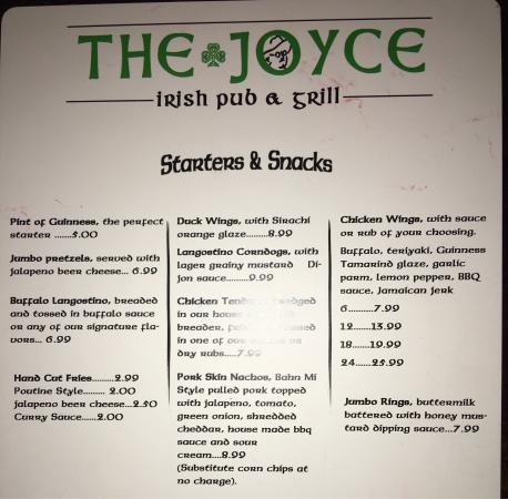 Leland, NC: The Joyce Menu. They also have a full menu of beers and spirits.
