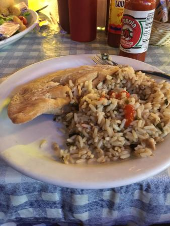 Dudley's Cajun Cafe: Lunch Serving of Fried Crawfish Pie and Dirty Rice