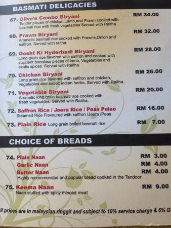 menu - Picture of Olive Kitchen + Bar, George Town - TripAdvisor