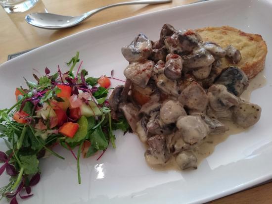 The Bay Restaurant: Starter of mushrooms on rarebit. Their lovely Sunday roast of beef.