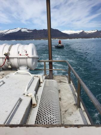 Bustravel Iceland: Zodiac escort and liferaft. Reassuring on an amphibious vehicle
