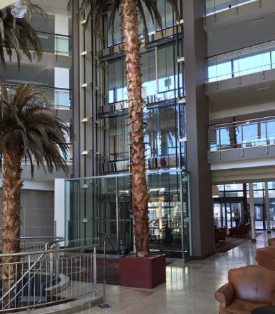 Radisson Blu Hotel & Spa, Galway: Main entrance atrium with glass-enclosed elevators.