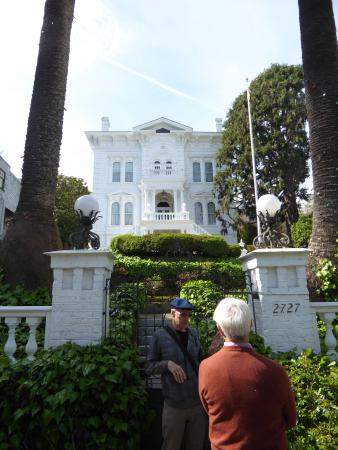 Victorian Home Walk: One of the grander places on the tour, plus our guide.