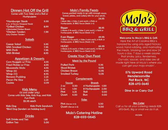 MoJo's BBQ & Grill Menu (Flat Rock - Hendersonville NC) Page