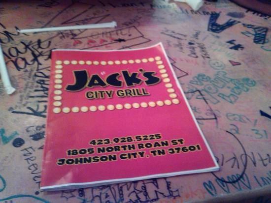 Jack's City Grill: menu/table