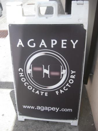 Agapey Chocolate Factory : Sign to the Factory in Bridgetown.