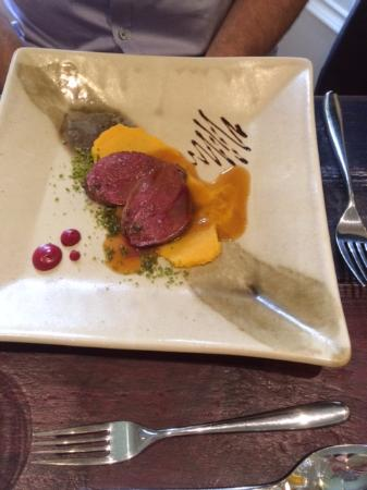 Prince Hall Hotel Devon Restaurant: Seared breast of wood pigeon (starter)
