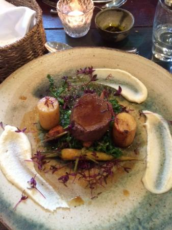 Prince Hall Hotel Devon Restaurant: Venison with fondant potato, heritage carrots and spring greens (main)