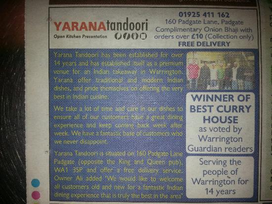Yarana Tandoori: Very best