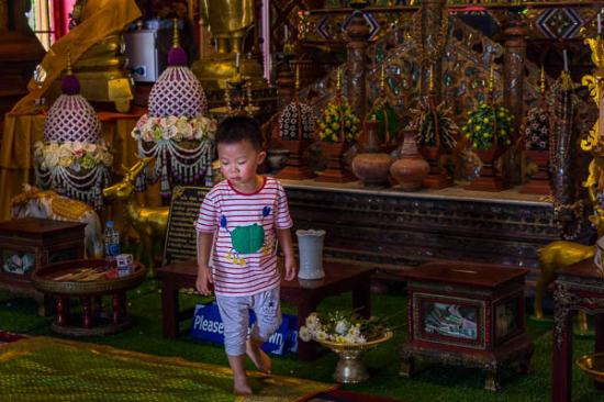 Wat Chiang Man: A small boy places an offering.