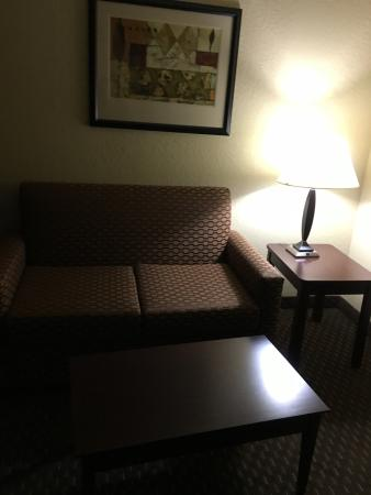 Holiday Inn Express Dahlonega: Living room area with TV, lamp desk, drops, plug
