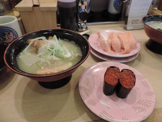 Kaitenzushi Toriton Hiragishi: カニ汁ほか