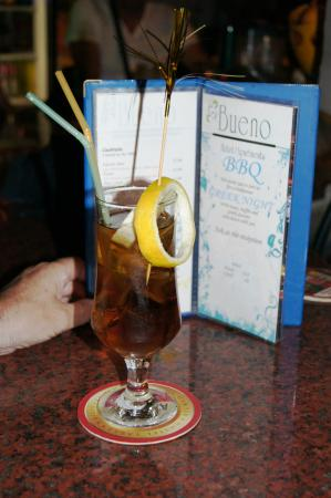 Long Island Iced Tea at Hotel Bueno bar at night