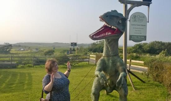 Chale, UK: Dinosaur (but it's safely chained up!)
